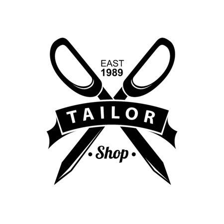 Tailor shop emblem with scissors. Vector illustration design. Çizim