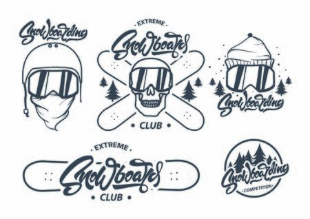 Collection of snowboarding . Snowboard Lettering and labels.Winter outdoor activity emblems and symbols in retro style. Extreme sport