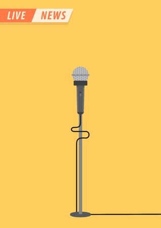 Live news. Microphone in flat style. News illustration. News on TV and radio. Interview. Vector illustration design