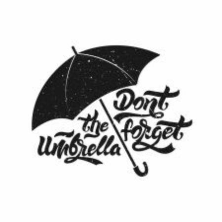 Umbrella icon. Don't forget the umbrella . Umbrella with lettering with grange