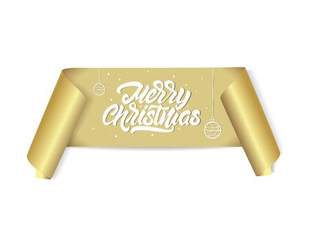 Merry Christmas lettering on gold ribbon, realistic vector, paper banner. Vector illustration.