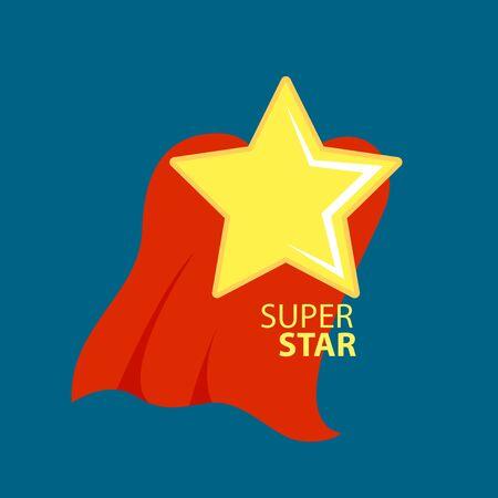 Super star with cape or cloak. Comics style. Vector illustration design Çizim
