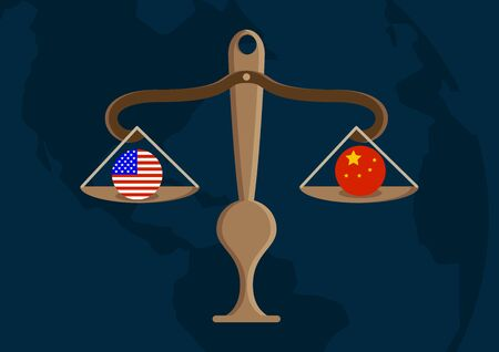 Concept illustration. Scale with USA and China. Vector illustration design