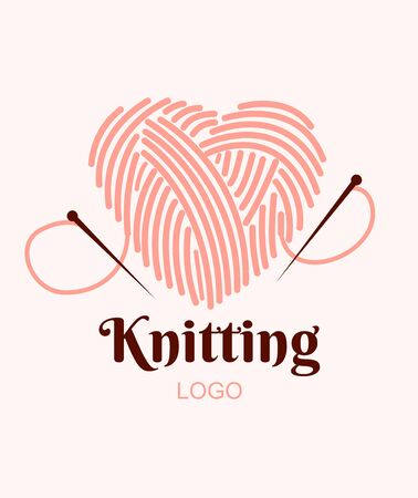 Knitting logo. Ball of yarn in heart with needles. Vector illustration