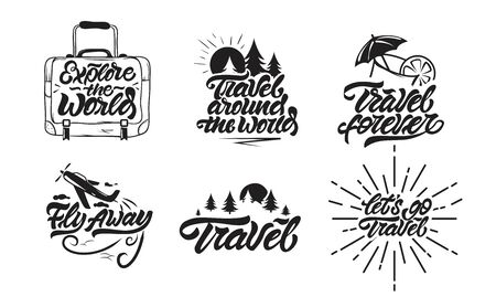Travel set, fly away, lets go travel emblems in lettering style. Hand draw Collection. Vector Çizim