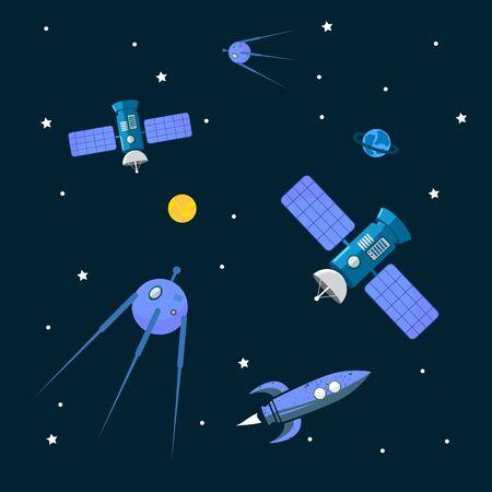 Space objects. Satellites , rocket, planets. Vector illustration design.