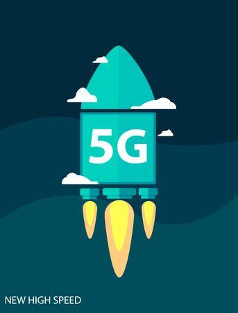 5g internet text on rocket in flat style. New high speed internet. Vector illustration design