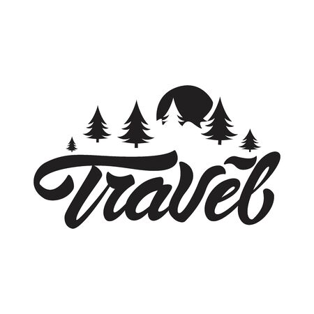 Travel logo in lettering style. Travel with sun and trees illustration. Vector illustration design.