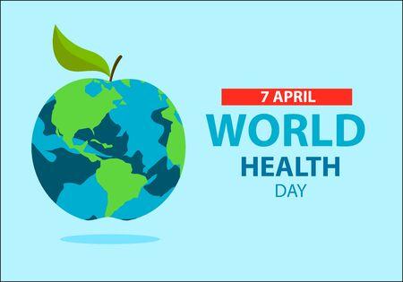 World health day concept . Apple earth . World health day vector design. Çizim