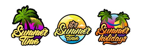 Mini set of Summer in lettering style with palm tree illustration. Holidays. Vector Çizim
