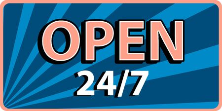 Open 24 banner in old retro style . Vector Typography design
