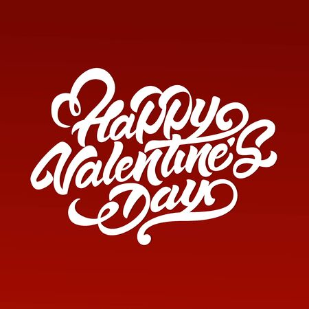 Happy Valentine's Day in lettering style. Lettering illustration design for gifts or postcards.