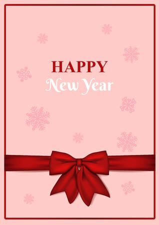 Happy new year blank greeting card with red bow on pink background with snowflakes . Invitation, postcard, flyer or brochure template. Vector illustration.