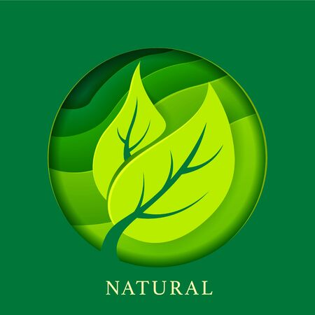 Poster with leafs in paper style. Environment and ecology design. Natural illustration for you design. Çizim