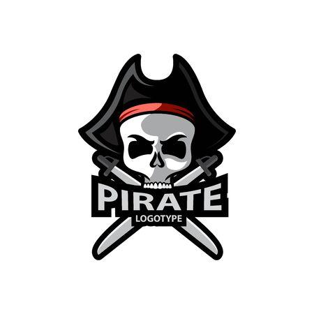 Pirate Skull and crossed sabers badge. Vector illustration design
