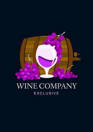 Wine company with wine cask and grape