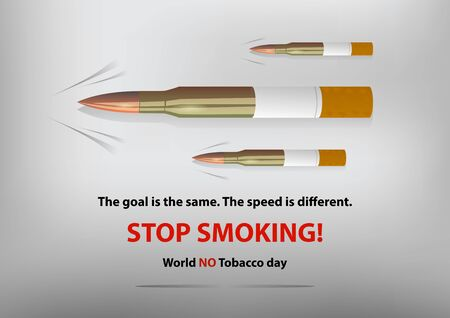 No smoking design. Stop smoking poster with bullets and cigarettes . Vector illustration