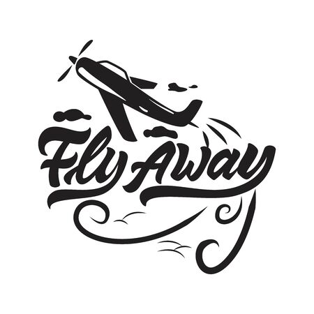 Flay away  in lettering style with aircraft and clouds. Vector illustration design. Çizim