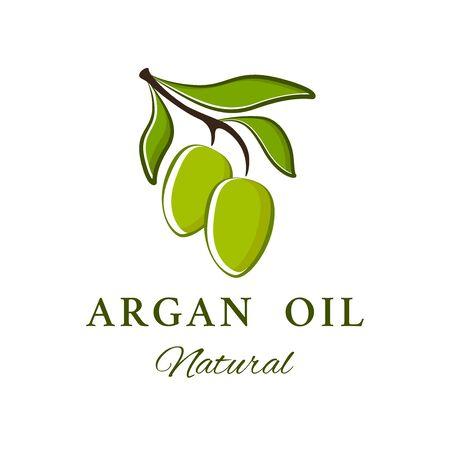 Vector emblem. Argan oil logotype. Beauty and cosmetics oils - argan.