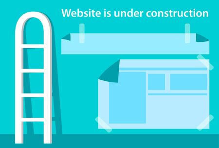 Website is under construction page. Illustration with stairs and windows in flat style. Vector illustration.