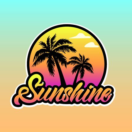Colourful Sunshine logotype in lettering style with Palm tree and sunset. Vector illustration design.