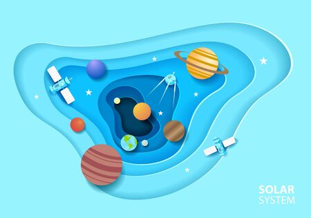 Solar system in paper art style. Galaxy paper cut with satellites and planets. Vector illustration design.