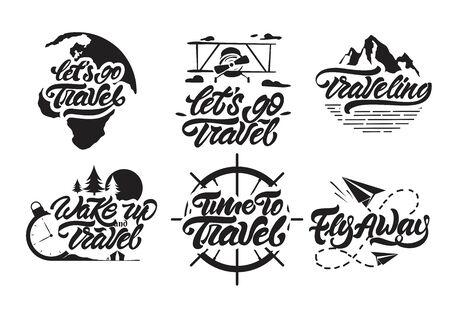 Let's go travel big set in lettering style. Lettering with earth background. Hand lettering . Vector illustration design.