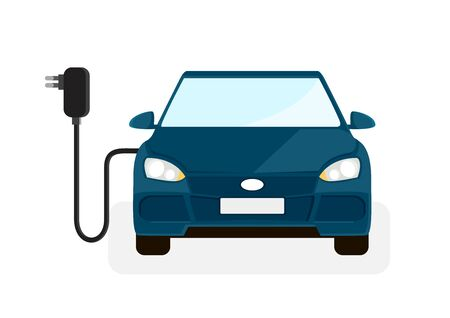 Electric car charging. Flat style. Electrical charging station. Vector illustration design.
