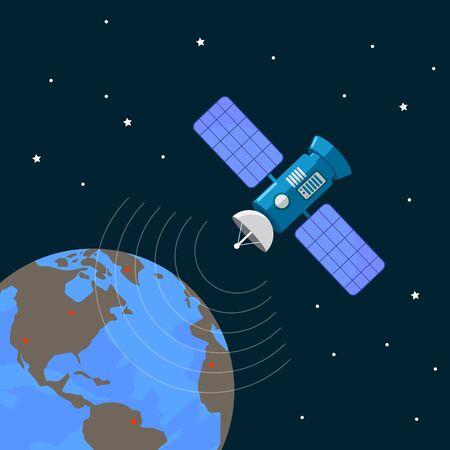 Satellite geolocation , positioning on the ground. Navigation geolocation. Vector illustration design.