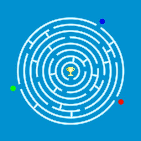 Round labyrinth maze game with 3 players. With Prize in the middle.Vector illustration design. Ilustração