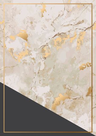 Abstract background with golden marble stone texture and gold frame. Vector illustration design. Çizim