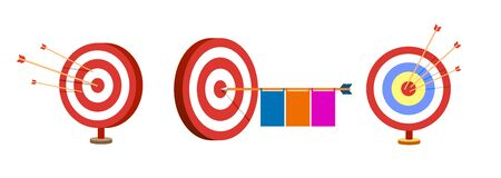 Target set with arrows. Sport game and business concept. Vector collection