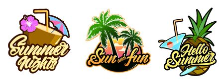 Set of Summer logotypes in lettering style with palm tree cocktail illustration. hello summer. Vector Çizim