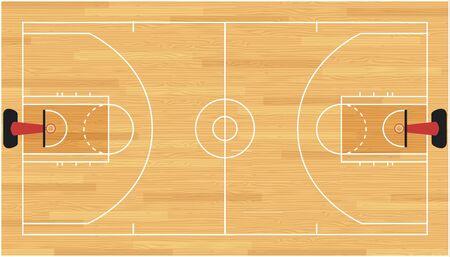 Basketball court floor with hardwood texture. Vector illustration.