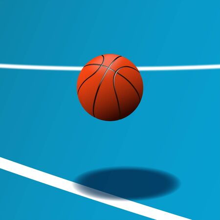 Realistic basketball ball on blue court with shadow