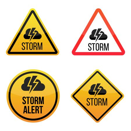 Storm weather alert. Warning signs labels. Yellow and red. Isolated on white background.