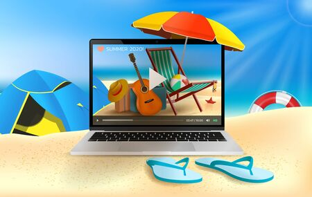 Vector Summer Time Holiday realistic illustration on beach and online. Time to stop work and chill. Laptop, Beach umbrella, guitar, beach ball and sunshade.