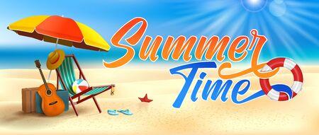 Vector Summer Time Holiday realistic illustration on beach. Beach umbrella, guitar, beach ball and sunshade. Vectores