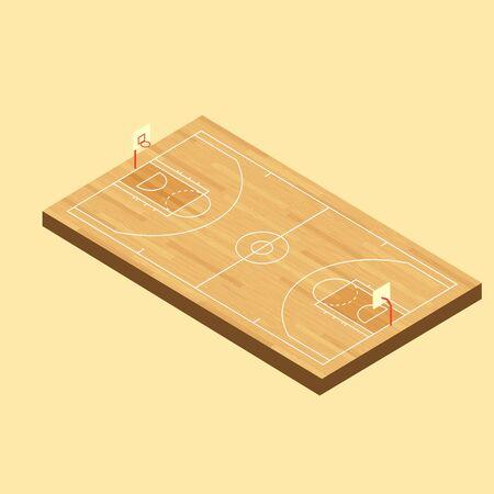Vector Isometric Basketball wood Court with hardwood texture