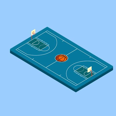 Vector Isometric Basketball blue Court with ball Illustration