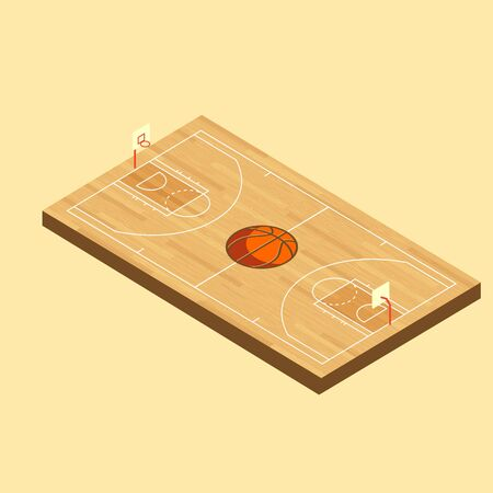Vector Isometric Basketball wood Court with hardwood texture and ball