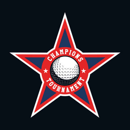 Golf logo, star emblem, icons, designs template with ball.