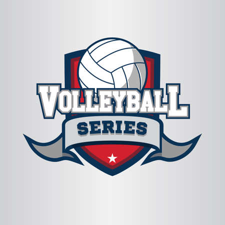 Volleyball logo, emblem, icons, designs templates with volleyball ball and shield