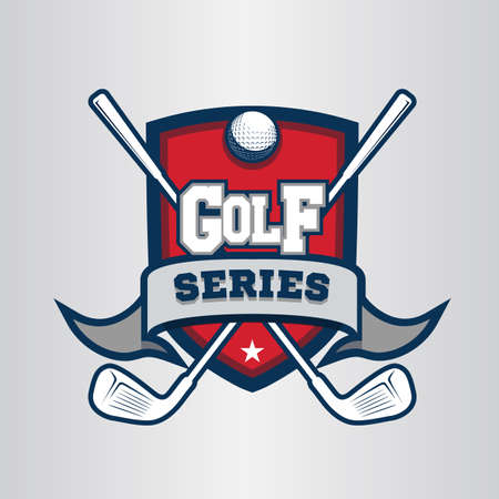 Golf logo, emblem, icons, designs template with ball and sticks