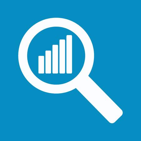 青色の背景に虫眼鏡にグラフ。株式ベクトル