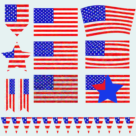 declaration of independence: American flag. Different types of flag and transformation in the