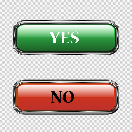 yes or no: Yes or No Buttons on good background. stock vector