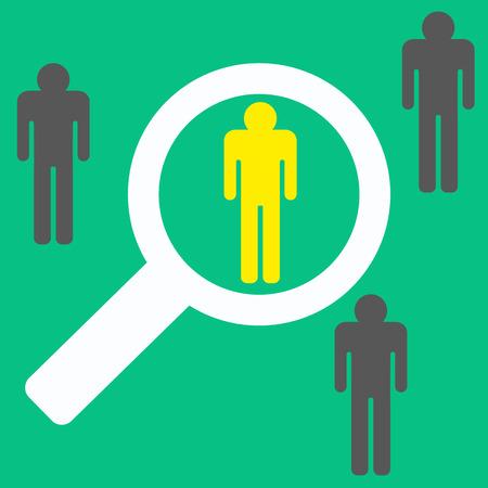 人々、最高の労働者の検索の虫眼鏡。株式ベクトル