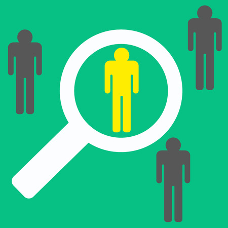 magnifying glass searching people, best worker. stock vector Vectores