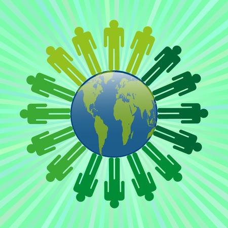millones: Iconos de personas en la multitud en el suelo con un hermoso verde